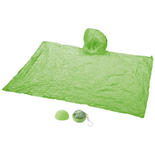 Xina rain poncho in storage ball with keychain in lime