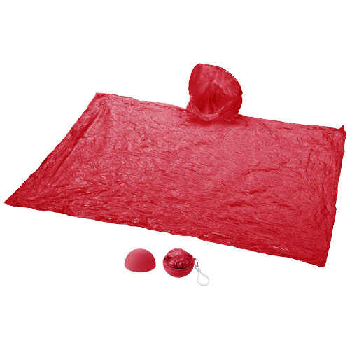 Xina rain poncho in storage ball with keychain in red