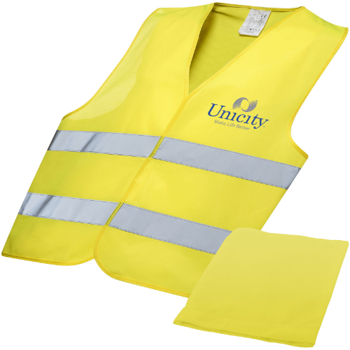 Watch-out XL safety vest in pouch for professional use in