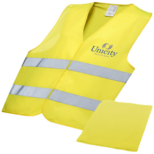 Professional safety vest in pouch in yellow
