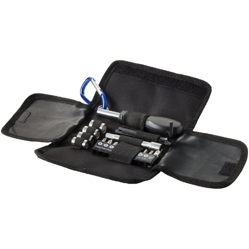 Flint 19-piece tool set in black-solid-and-blue