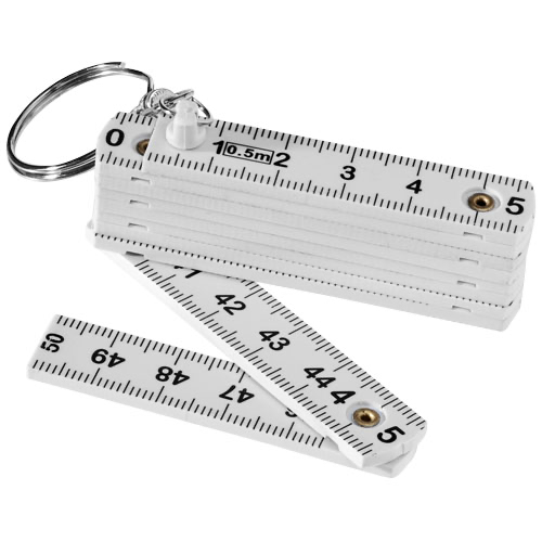 Harvey 0.5 metre foldable ruler keychain in white-solid