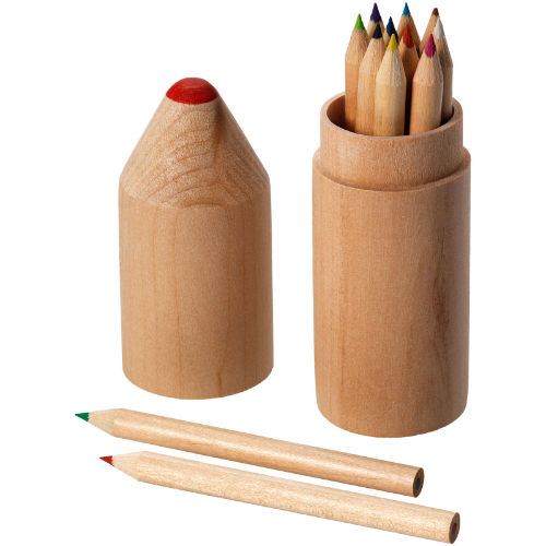 Woody 12-piece coloured pencil set in wood