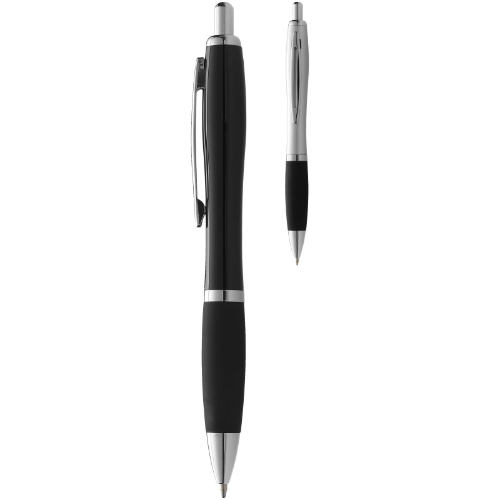 Mandarine ballpoint pen with soft-touch grip in silver