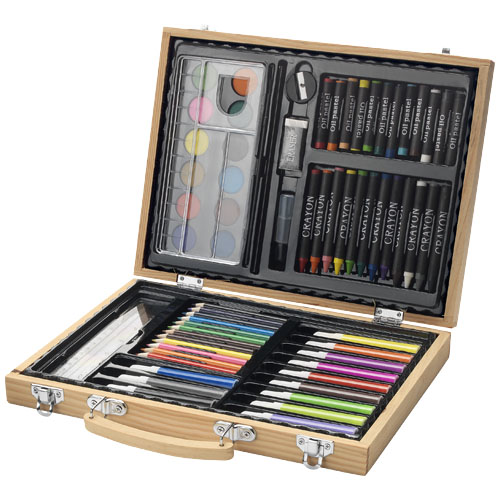 Rainbow 67-piece colouring set in natural