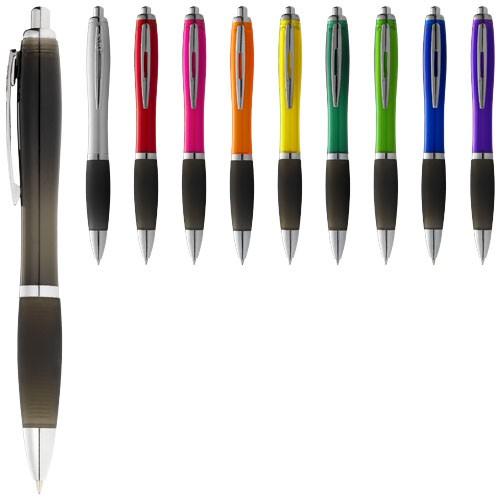 Nash ballpoint pen coloured barrel and black grip in