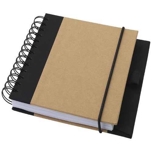 Evolution recycled notebook in natural-and-black-solid