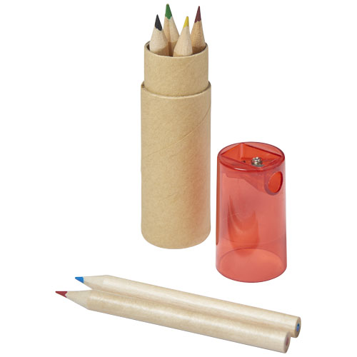 Kram 7-piece coloured pencil set in red