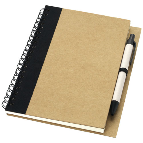 Priestly recycled notebook with pen in natural-and-black-solid