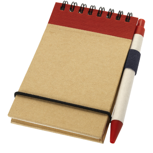 Zuse A7 recycled jotter notepad with pen in natural-and-red