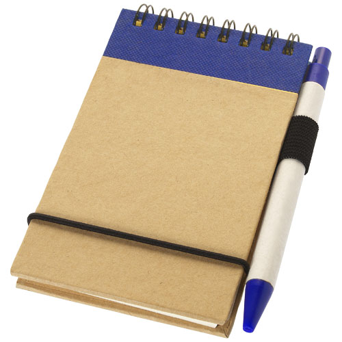 Zuse A7 recycled jotter notepad with pen in natural-and-navy