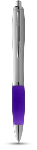 Nash ballpoint pen silver barrel and coloured grip in purple-and-silver