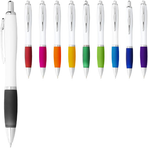 Nash ballpoint pen white barrel and coloured grip in