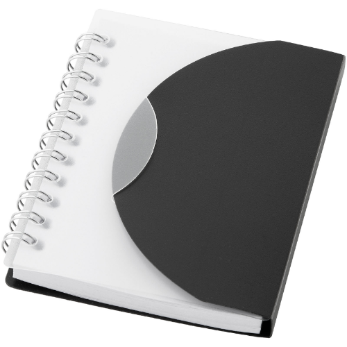 Post A7 spiral notebook with blank pages in white-solid-and-transparent-clear