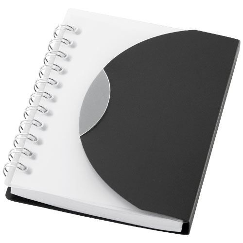 Post A7 spiral notebook with blank pages in black-solid-and-transparent