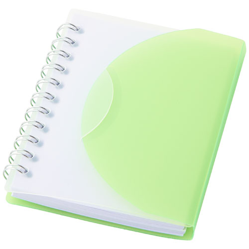 Post A7 spiral notebook with blank pages in green-and-transparent-green