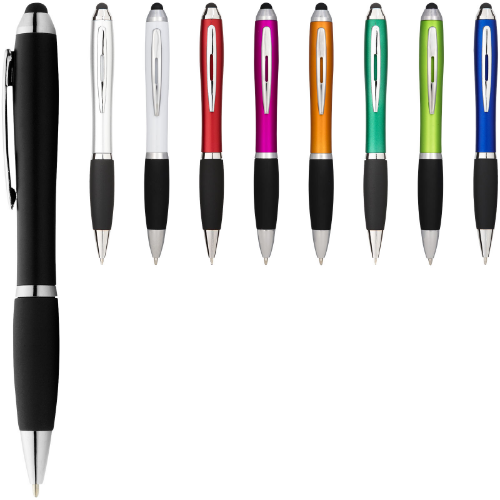 Nash coloured stylus ballpoint pen with black grip in silver-and-black-solid