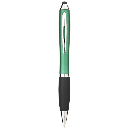 Nash coloured stylus ballpoint pen with black grip in green-and-black-solid
