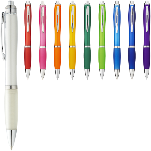 Nash ballpoint pen with coloured barrel and grip in