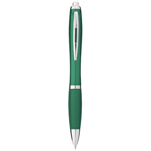Nash ballpoint pen with coloured barrel and grip in green
