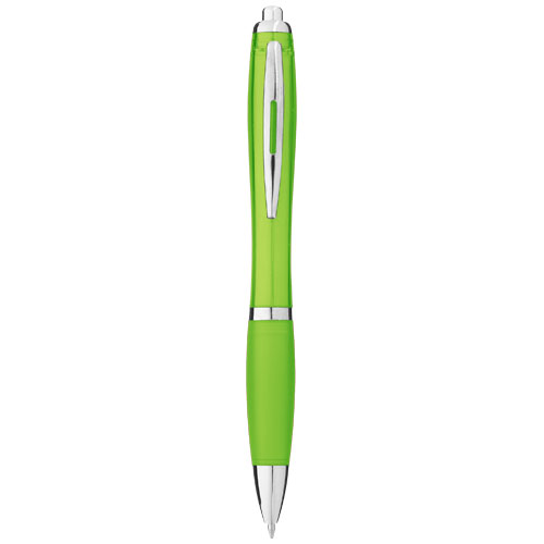 Nash ballpoint pen with coloured barrel and grip in lime