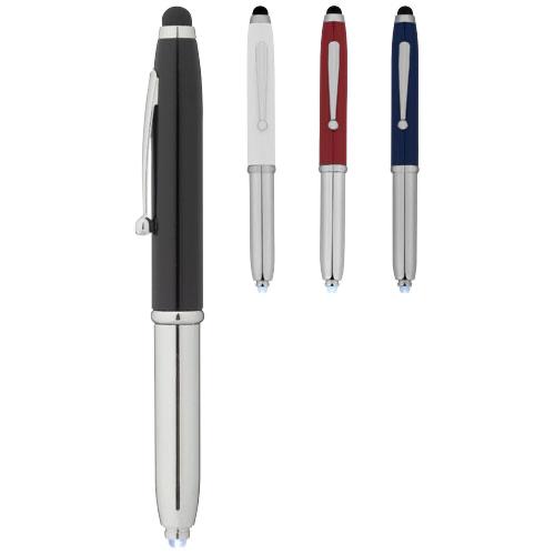 Xenon stylus ballpoint pen with LED light in white-solid-and-silver