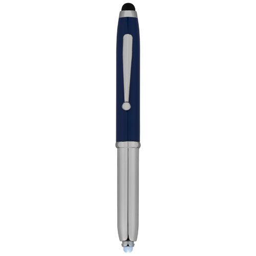 Xenon stylus ballpoint pen with LED light in royal-blue-and-silver