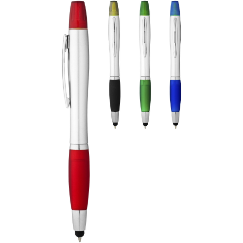 Nash stylus ballpoint pen and highlighter in silver-and-royal-blue