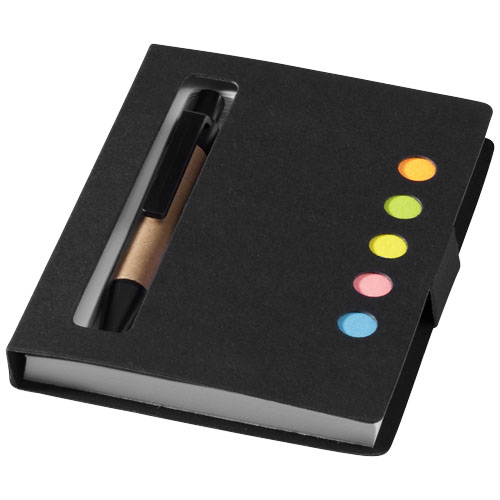 Reveal coloured sticky notes booklet with pen in black-solid