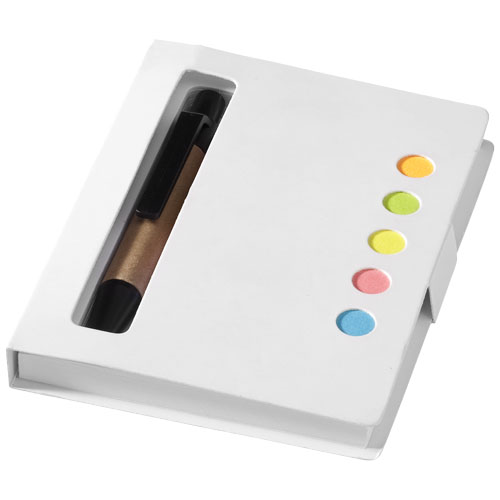 Reveal coloured sticky notes booklet with pen in white-solid