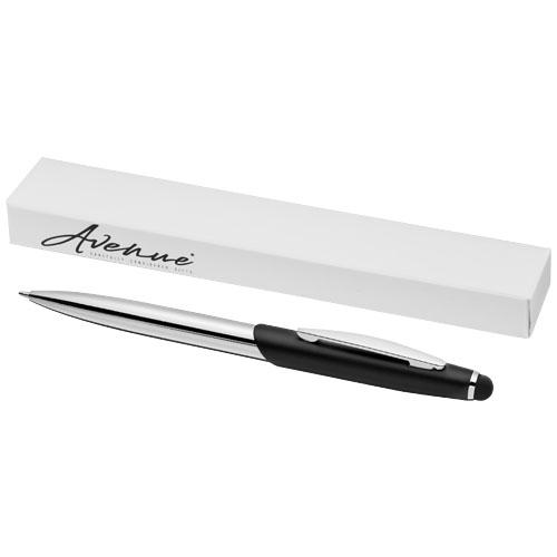 Geneva stylus ballpoint pen in black-solid-and-silver