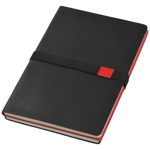 Doppio A5 soft cover notebook in black-solid-and-red