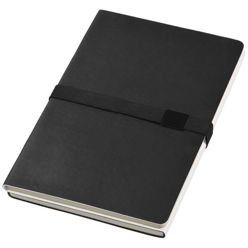 Doppio A5 soft cover notebook in black-solid-and-white-solid