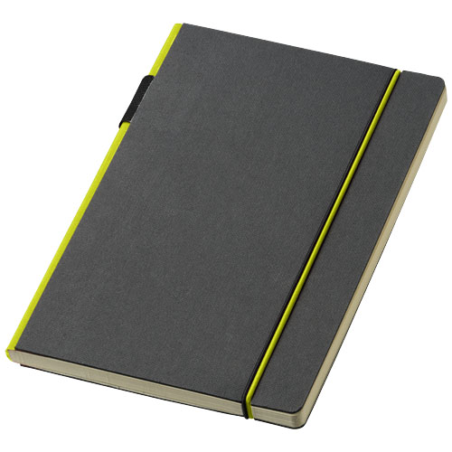 Cuppia A5 hard cover notebook in black-solid-and-lime
