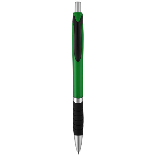Turbo ballpoint pen with rubber grip in green-and-black-solid