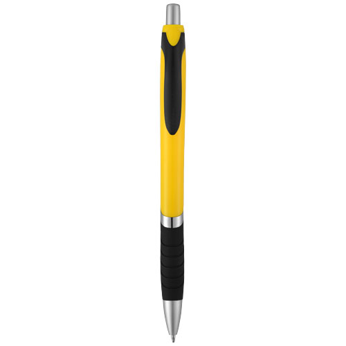 Turbo ballpoint pen with rubber grip in yellow-and-black-solid