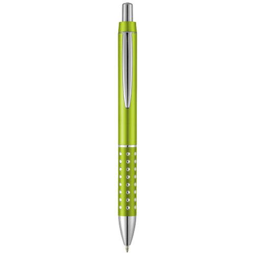 Bling ballpoint pen with aluminium grip in lime