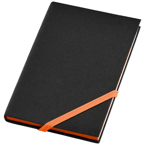 Travers small hard cover notebook in black-solid-and-orange