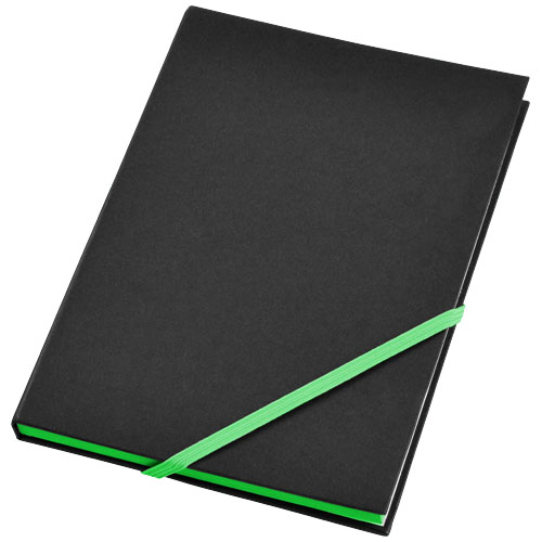 Travers hard cover notebook in black-solid-and-green