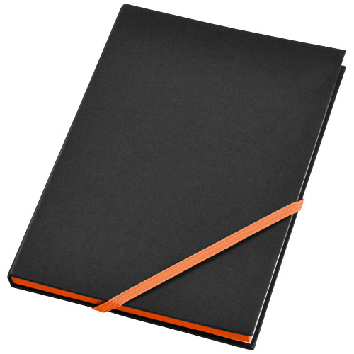 Travers hard cover notebook in black-solid-and-orange