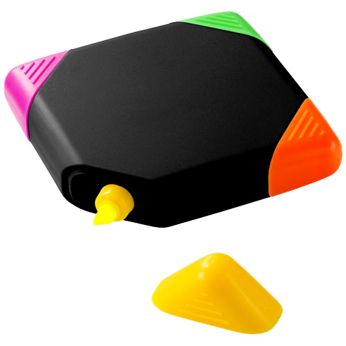 Trafalgar square-shaped 4-colour highlighter in white-solid