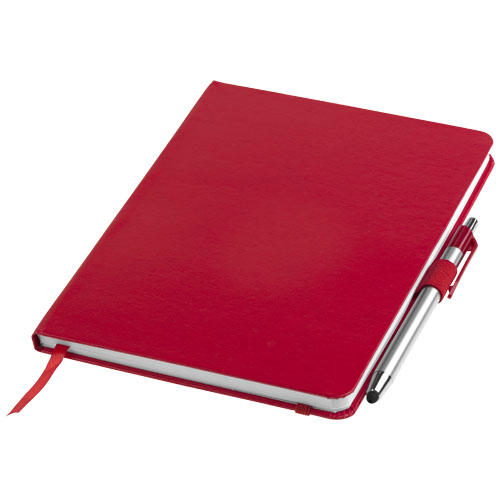 Crown A5 notebook with stylus ballpoint pen in red