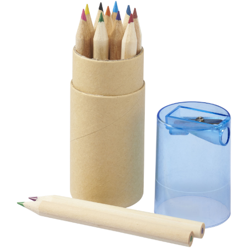 Hef 12-piece coloured pencil set with sharpener in