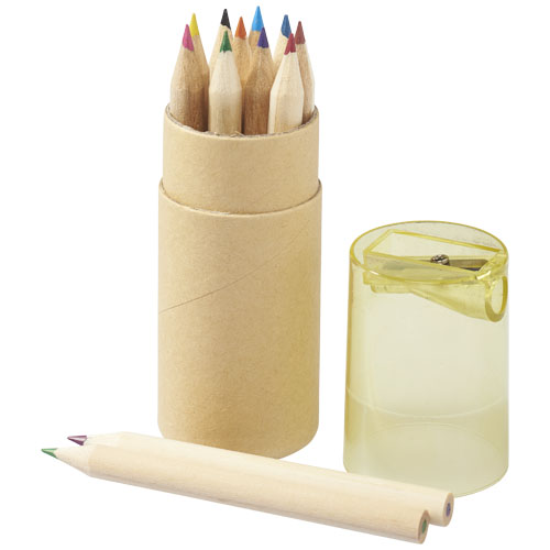 Hef 12-piece coloured pencil set with sharpener in yellow