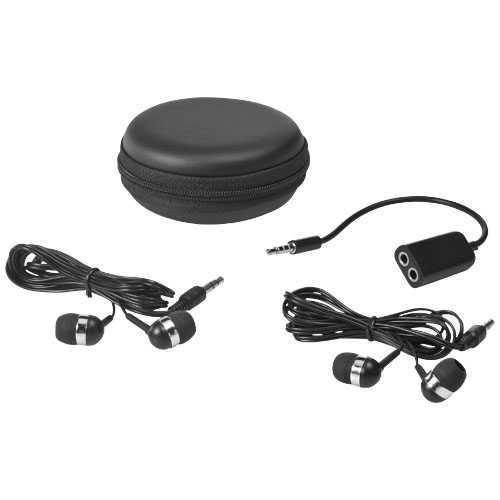 Sound off earbuds and splitter with case in black-solid