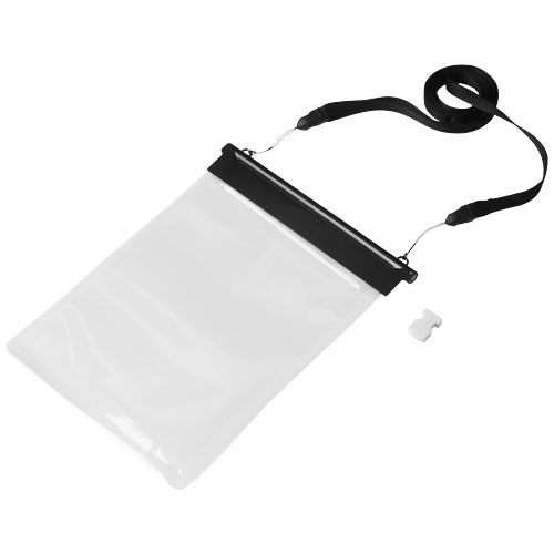 Splash waterproof mini tablet touchscreen pouch in black-solid-and-transparent
