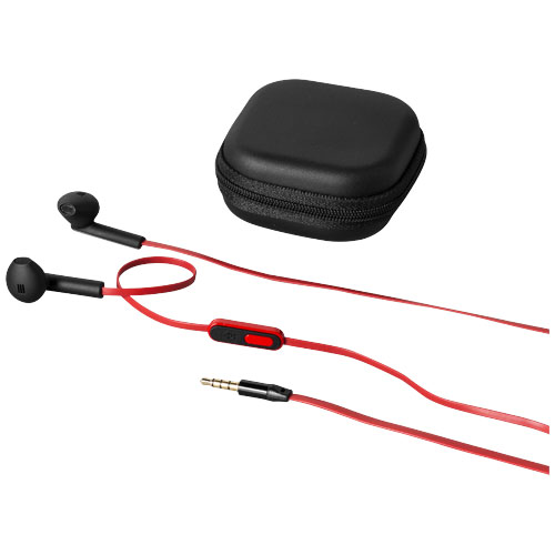 Fusion earbuds in black-solid-and-red
