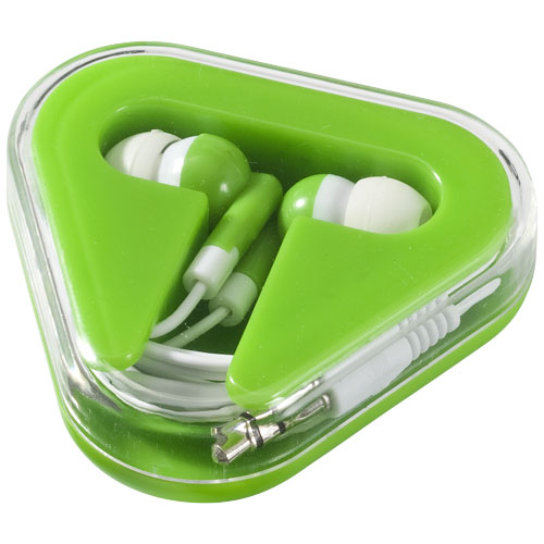 Rebel earbuds in lime-and-white-solid