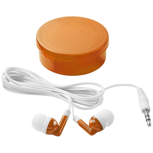 Versa earbuds in transparent-orange-and-white-solid