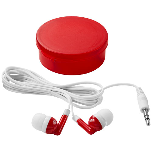 Versa earbuds in transparent-red-and-white-solid